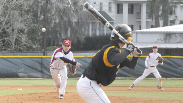 Morgan Academy's Adam Seele delivers a pitch during a game earlier this season against Meadowview Christian School at Bloch Park. Morgan returns to play Tuesday. -- File Photo