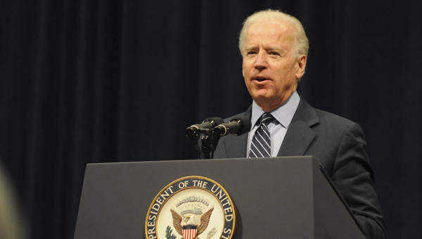 Vice President Joe Biden delivers remarks during Sunday's Martin and Corretta King Unity Brunch Sunday at Wallace Community College. -- Robert Hudson