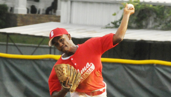 Selma's Keyshawn Ford throws a pitch in the second inning against West Alabama during the pre-majors district tournament at Bloch Park on Friday. Selma held on to win 3-2.--Daniel Evans