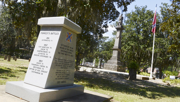 A memorial for Confederate Lt. Gen. Nathan Bedford Forrest is seen Wednesday afternoon near other Confederate monuments at Old Live Oak Cemetery in Selma. -- Jay Sowers