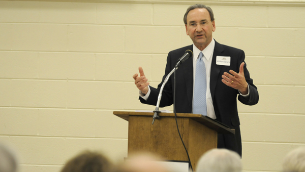 Listen close: Business Council of Alabama president Billy Canary serves as guest speaker Thursday night at the Centre of Commerce meeting held at Carl C. Morgan Convention Center. (Sarah Robinson | Times-Journal)