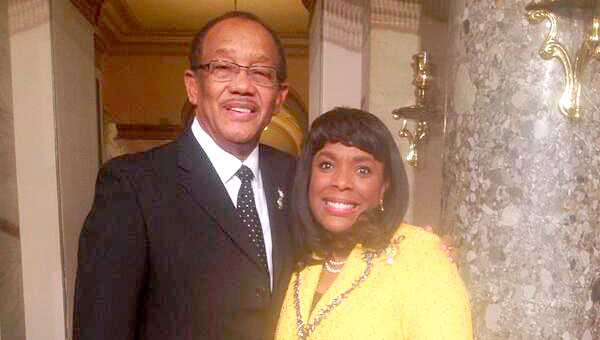 Selma Mayor George Evans is pictured with U.S. Rep. Terri Sewell moments before Tuesday's State of the Union Address in Washington D.C. (Submitted Photo | Times-Journal)