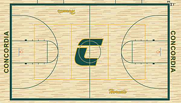"""Concordia College Alabama's new basketball floor will feature a green trim and the  Hornets new """"C"""" logo at mid court. Inside the three-point line will be a darker paint, although that is not shown on the design above. --Submitted Photo"""