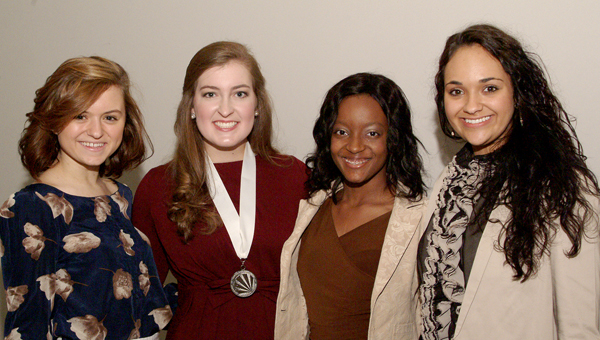 Dallas County Distinguished Young Woman Marissa Moore, second from right, is pictured with (from left) Bullock County DYW Katie Moore,  Alabama's DYW for 2013 Jean Elizabeth Miles and Clarke County DYW Lake Lolly.