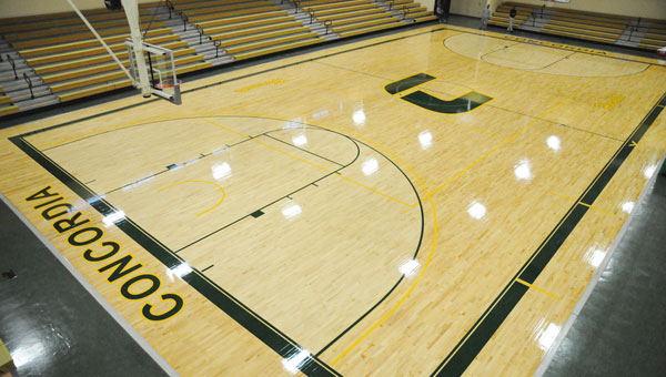 Concordia College's remodeled basketball floor has a brand new look, with a green outline and the college's new athletics logo in the center of the court. The Hornets will play their first game on the floor Wednesday against Selma University. (Daniel Evans | times-Journal)
