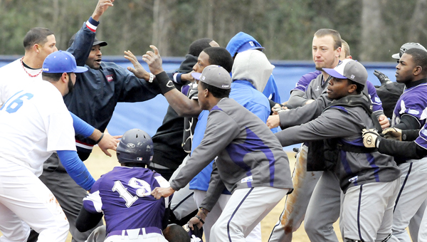 The second game of a doubleheader between Selma University and Paine College ended in a double forfeit after a brawl broke out between the two teams in the third inning. The brawl started when a Paine player thought a tag at third base was too forceful, which resulted in the benches clearing.--Daniel Evans