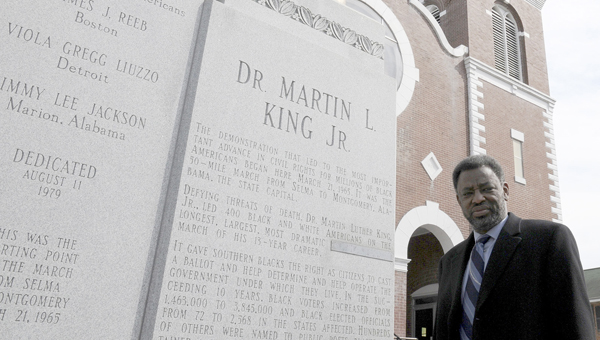 Brown Chapel AME Rev. Leodis Strong stands outside of Brown Chapel Friday afternoon. The historic church will be having it's Founder's Day celebration Feb. 16 at 10:30 a.m. (Sarah Robinson | Times-Journal)