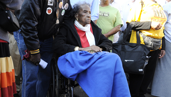 finally time?: Amelia Boynton crosses the Edmund Pettus Bridge during the 2014  Bridge Crossing Jubilee. The Selma City Council is considering a measure to name Lapsley street after her family. (Jay Sowers | Times-Journal)