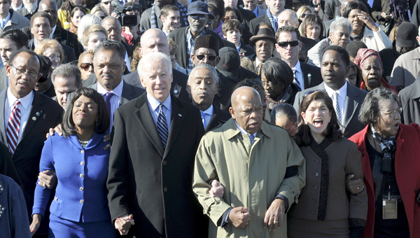 Bridge crossing: The 2014 Bridge Crossing Jubilee will not have Vice President Joe Biden leading the procession across the Edmund Pettus Bridge like last year, but the event will still draw significant dignitaries and huge crowds. (File Photo | Times-Journal)