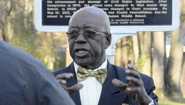 Henry Allen, former fire chief in Selma and a former R.B Hudson High School student, speaks during the unveiling ceremony of plaques at the now R.B. Hudson Middle School, detailing the school's involvement — and that of its students — in the civil rights movement in the 1960s. (Sarah Robinson | Times-Journal)