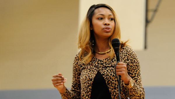"""Selma native Coleysia Chestnut, who is featured on MTV's new dating reality show """"Are you the One?"""", has an open discussion with members of the new Hudson Girls Rock mentoring program Thursday held at R.B. Hudson Middle School. (Sarah Robinson 