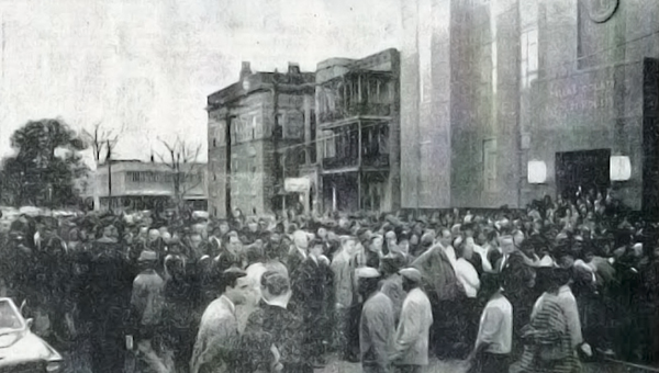 Civil Rights: This picture from the March 16 edition of the Selma Times-Journal shows protesters gathered outside of the Dallas County Courthouse during the civil rights movement of the 1960s. (File Photo | Times-Journal)