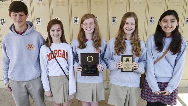 Members of the Morgan Academy math team recently won the AISA Middle School Mathematics Competition Feb. 28 in Montgomery. Team members are, left to right, Austin Chappelle, Louise Stewart, Kelle Scheer, Ann Elizabeth Yocum and Sara Matthews. -- Jay Sowers