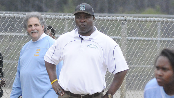 Dallas County head coach Willie Moore looks on from third base as his Hornets battled Selma in a game earlier this season. The Hornets have started their season with 16 consecutive road contests and will play their first home game against Selma April 1 at 4 p.m.--Daniel Evans
