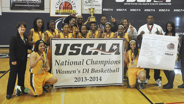 Concordia College Alabama's Lady Hornets celebrate after winning the school's fourth women's basketball championship Saturday. The Hornets defeated Robert Morris Springfield 69-60 in the USCAA Division I National Championship game.-- (Submitted Photo | USCAA)