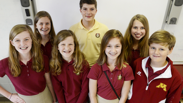 Members of the Morgan Academy Middle School scholars bowl team recently won the AISA Middle School Scholars Bowl Championship. Members of the team are; front row, left to right, Kellee Scheer, Maggie Palmer, Louise Stewart Ford Chittom; back row, left to right, Ann Elizabeth Yocum, Colton Roberts and Kara Wall. (jay Sowers |Times-Journal)