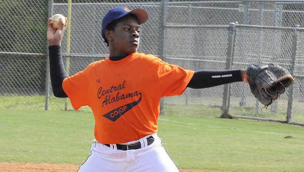 Terrance Thomas throws a pitch in Saturday's game against Reliable Cadillac during opening day of the Selma Recreation Department's youth baseball and softball season.--Daniel Evans