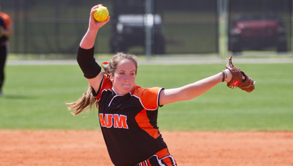 Auburn University at Montgomery pitcher Cassie Daniels throws a pitch in a game earlier this season. Daniels, who helped lead Dallas County High School to the 2011 state championship, has thrown nine shutouts this season despite battling an arm injury that require surgery after the season.--Marvin Gentry   AUM Athletics