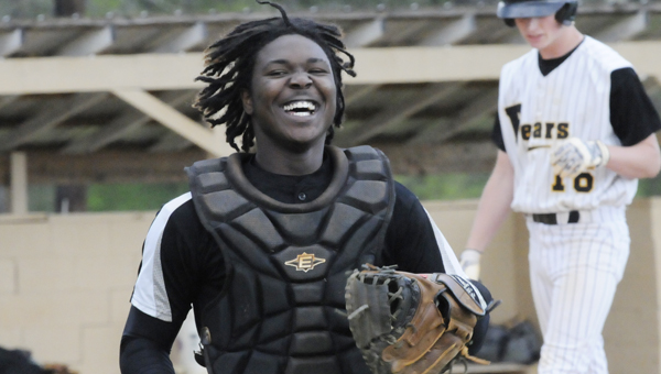 Ellwood Christian catcher Rayford Mitchell reacts to a play at home plate in the second inning of Tuesday's game versus Billingsley. On the play, Mitchell dropped a throw from pitcher Jalen Furlow and a run scored for the Bears. --Daniel Evans
