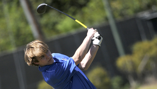 Wilcox Academy's Daniel Harris tees off hole No. 1 during Thursday's AISA golf tournament hosted by Morgan Academy and the Selma Country Club. -- Tim Reeves