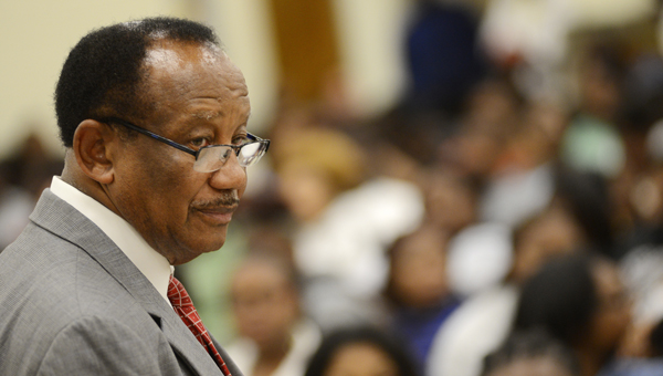 Cash flow: Selma Mayor George Evans looks over the crowd during the city's summer jobs auction in May. Financial documents for Evans show a wide range expenditures for projects and organizations. (Jay Sowers | Times-Journal)