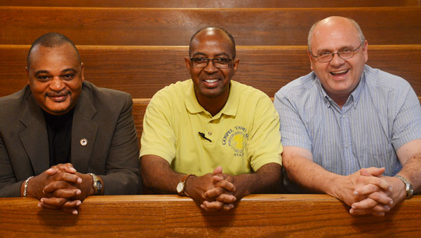 Bishop Joe Brown, Pastor John Grayson and Reverend Larry Stover all have decades of experience delivering sermons to their churches. (Jay Sowers | Times-Journal)