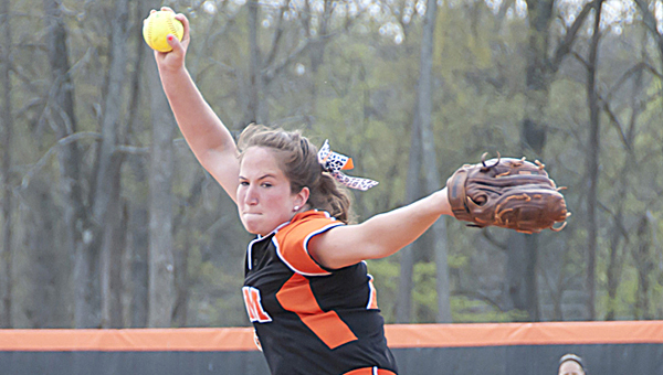 Auburn University at Montgomery pitcher Cassie Daniels throws a pitch in a game earlier this season. Daniels and the Warhawks won AUM's first softball national championship Thursday night and she was named the World Series MVP after going 3-1 with a 1.54 ERA in the tournament.--File Photo | Auburn University at Montgomery