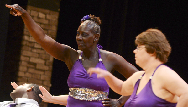Doris King and Margaret Gamble point toward the audience during their dance. -- Photos by Jay Sowers