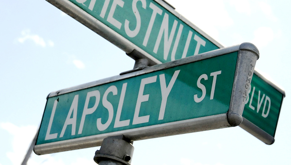 The Selma City Council will have a public hearing for a renaming of Lapsley Street on Saturday. One proposal would start the renamed street at the corner of Lapsley Street and J.L. Chestnut Boulevard. -- Josh Bergeron