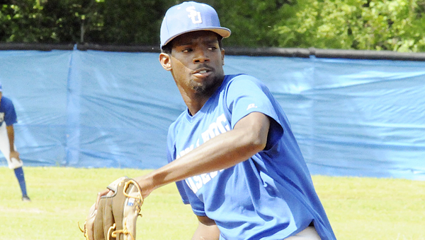 Selma University pitcher Tarus Hervey throws a pitch in the Bulldogs' scrimmage game Wednesday. Selma, which finished second in the final USCAA standings, are hoping to earn a bid into the Small College World Series, which begins May 11 in Springfield, Ill.--Daniel Evans