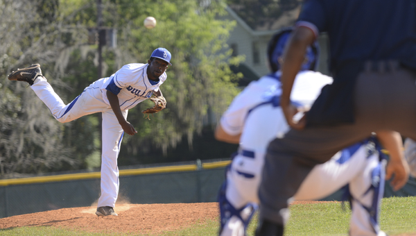Selma University pitcher Tarus Hervey throws a pitch in a game earlier this season against Concordia College Alabama. Hervey and the Bulldogs lost two of their three contests in the Small College World Series and were eliminated Tuesday evening.--File Photo