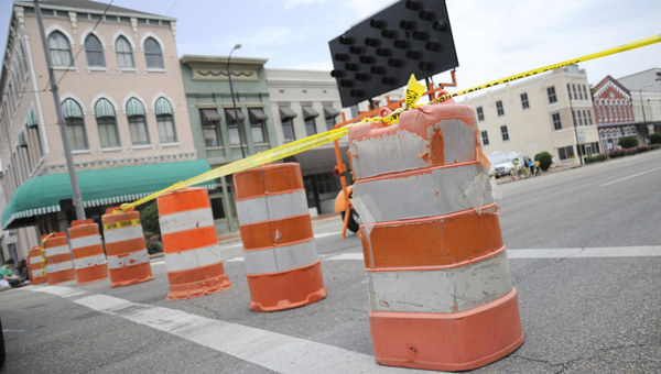 """Portions of Water Avenue and Broad Street, as wells as the Edmund Pettus Bridge were closed as the filming of """"Selma"""" began Monday. (Christopher Edmunds   Times-Journal)"""