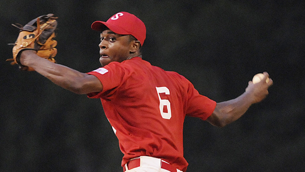 Keyshawn Ford throws out a pitch Friday night's pre-major district tournament. Selma was eliminated by Thomasville after losing to them Friday and Sunday.