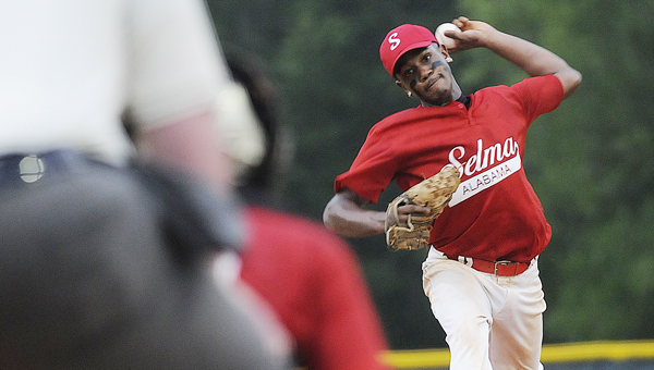 Selma's Keyshawn Ford throws a pitch during Friday night's pre-major district tournament game versus Thomasville. Selma lost the game 5-3, but the same two teams will play Saturday at 5 p.m. at Bloch Park in the second contest of a best-of-three series.--Daniel Evans
