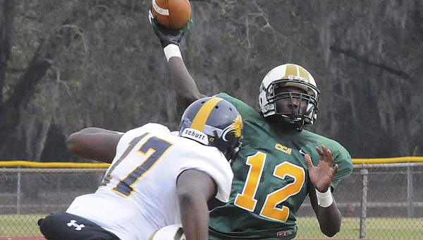 Concordia College Alabama quarterback Jeremy Buffington throws the ball against Warner University in a football game last year. --File Photo