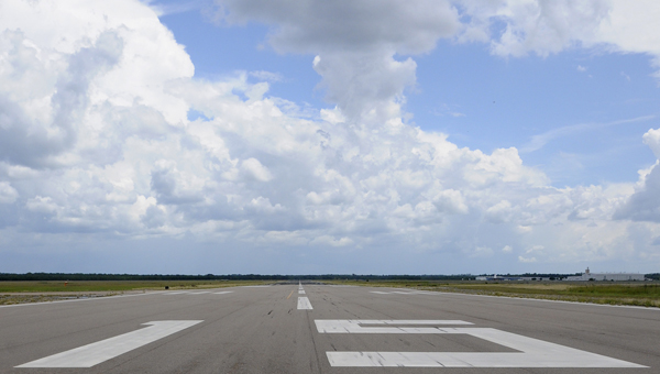 The runway striping and markings at Craig Field, shown here in a 2012 photograph, have recently been repainted.