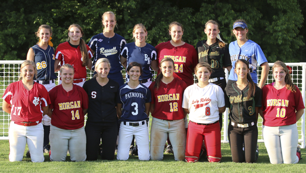 The West all-stars pose for a picture. The four players who participated in the junior game from Morgan Academy were Kendall Veach, Margaret Mims, Lauren Criswell, and Caitlyn Wilkerson. Morgan's Haley Grace Bone played in the senior game. --  Amanda Jordan | Submitted Photo