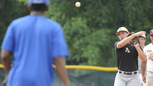 BT Seymore from Autagua Academy throws during Selma University's baseball tryouts Saturday at Bloch Park.--Daniel Evans