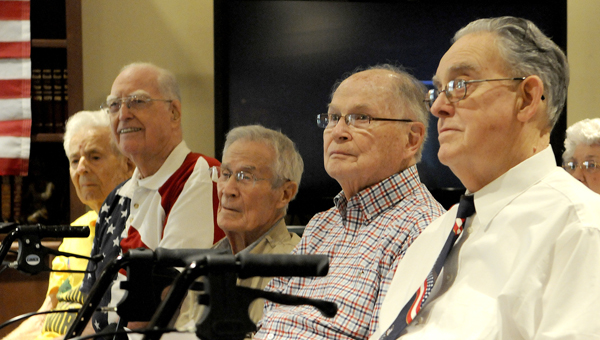 Six veterans were honored at a pinning ceremony Tuesday at Cedar Hill Assisted Living. Pictured are, from left, John Jernigan (US Air Force), Bill Sellier (US Army), Charles Driver (US Air Force), Charles Gray (US Air Force), Gordon Thompson (US Air Force). Not pictured is Roy Childers (WWII Army Air Corps).