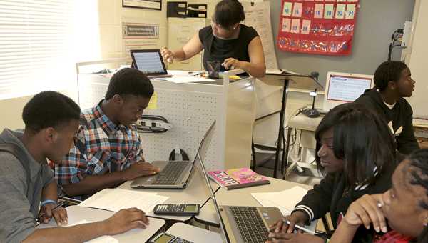 Students at Southside High School take advantage of the One-to-One progam by using laptops during their math class.