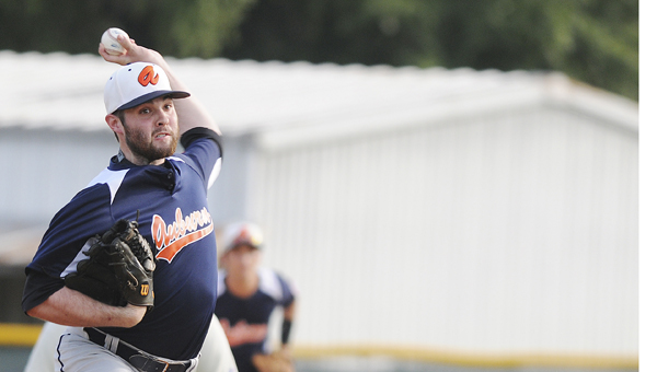 Auburn pitcher Zack Pope throws a pitch in his team's 14-1 victory over Selma Thursday at Bloch Park. Auburn went on to win the tournament Sunday with a 3-2 victory over Tuscaloosa. Auburn will represent the stae in Ozark for the World Series starting Friday, July 18.