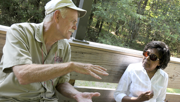 Archeological interpreter Jack Bergstresser, left, speaks to California resident Sylvia Bennett, right, at Old Cahawba Archaeological Park during the African-American Community After Emancipation Tour. --Sarah Robinson
