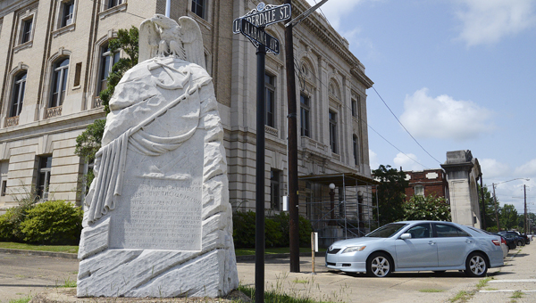 A monument honoring Selma native and World War I veteran John T. Melvin stands at the corner of Lauderdale Street and Alabama Avenue. -- Jay Sowers