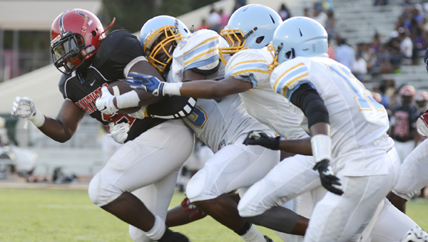The Selma defense made it tough for Southside to find positive yardage during Friday's game at Memorial Stadium. Southside's running game was grounded most of the evening in the 42-6 defeat — the Panthers' tenth consecutive loss to the Saints.--Jay Sowers
