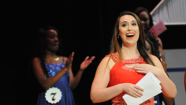 Morgan senior Lauren Barnes reacts after winning the 2015 Distinguished Young Women Competition. (Josh Bergeron  Times-Journal)