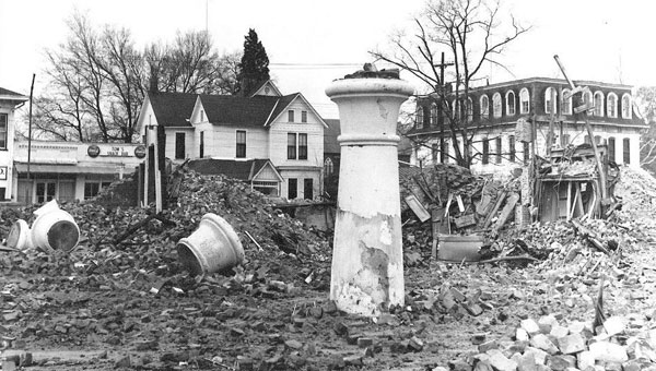 A single column stands in the middle of a field of rubble after Selma's historic Hotel Albert was demolished. (Submitted photo | Times-Journal)