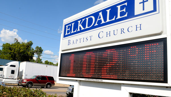 The sign at Elkdale Baptist Church on Highland Avenue shows just how hot the weather got Friday in the Selma area. (Sarah Robinson   Times-Journal)