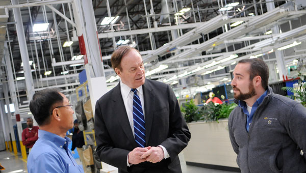 U.S. Sen. Richard Shelby, R-Ala., visits Hanil E Hwa's plant on Criag Field in January 2014. The company, along with Honda Lock, reported significant numbers of new workers hired over the previous year. (Josh Bergeron   Times-Journal)
