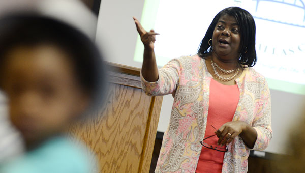 Callie Nelson, Leadership Selma-Dallas County interim director, talks to the members of Youth Leadership Class XVIII and their parents Thursday. (Jay Sowers |Times-Journal)