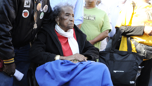 Civil rights icon Ameila Boynton-Robinson will celebrate her 103rd birthday Monday, Aug. 18.  Here, Amelia is pictured at the beginning of this year's bridge crossing re-enactment, the largest event of the annual Bridge Crossing Jubilee. -- Jay Sowers